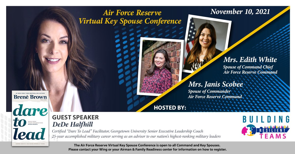 Calling all Key Spouses 🗣 Mrs. Scobee and Mrs. White will host a Virtual Key Spouse Conference on Wednesday, Nov. 10 for all Command Spouses, Key Spouse Mentors and Key Spouses. Contact your wing or local Airman & Family Readiness center to register! #ReserveResilient