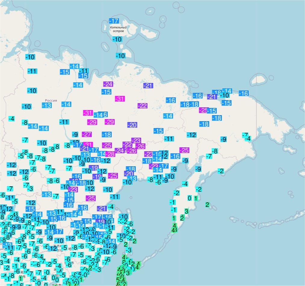 L'hiver prend ses quartiers en Sibérie orientale où les températures sont passées sous les -30°C sur plusieurs stations pour la première fois de la saison. Carte Ogimet