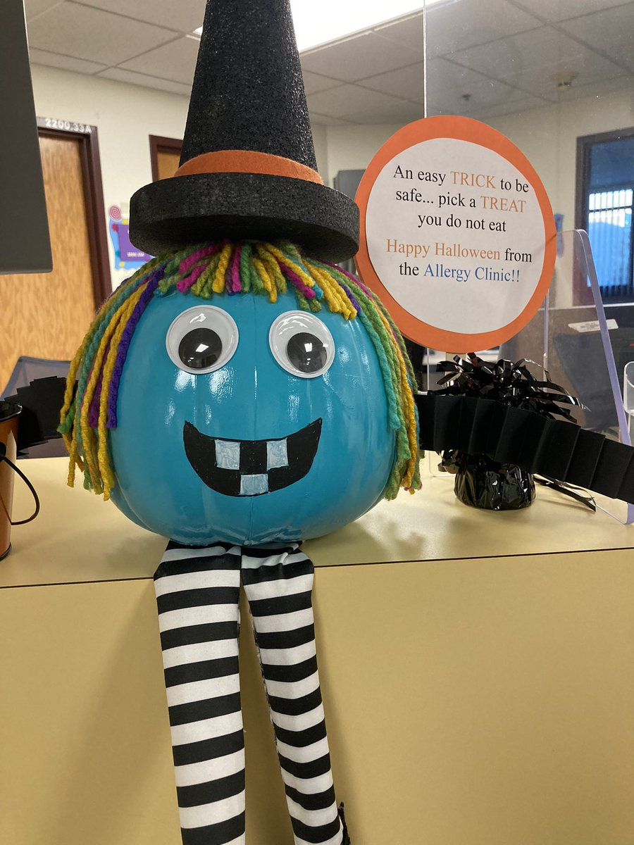 Pumpkin decorating contest at work kicked off today.  Representing our food allergy community. @FoodAllergy #tealpumpkinproject #foodallergies