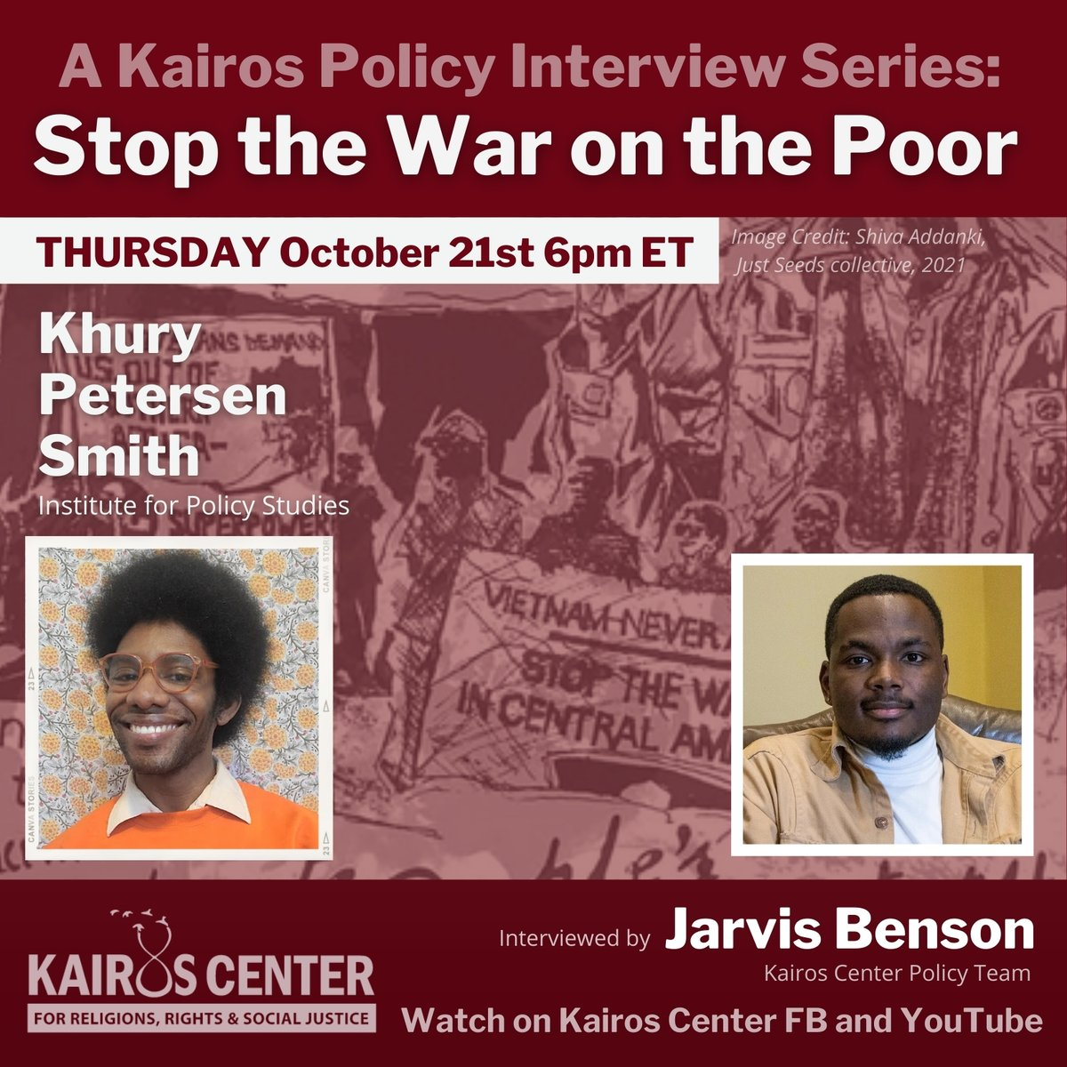 Watch @jarvispashon's interview with @kpYES from @IPS_DC this Thursday! Part of the @Kairos_Center series on militarism. 💥 https://t.co/l3xUfokcfu