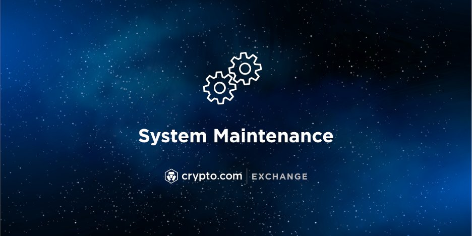 Notice: We will perform system maintenance for Derivatives trading on the Crypto.com Exchange starting 19 October 2021, 02:00 UTC. Other services on the Exchange will not be affected. Refer to status.crypto.com for updates. Details: blog.crypto.com/system-mainten…
