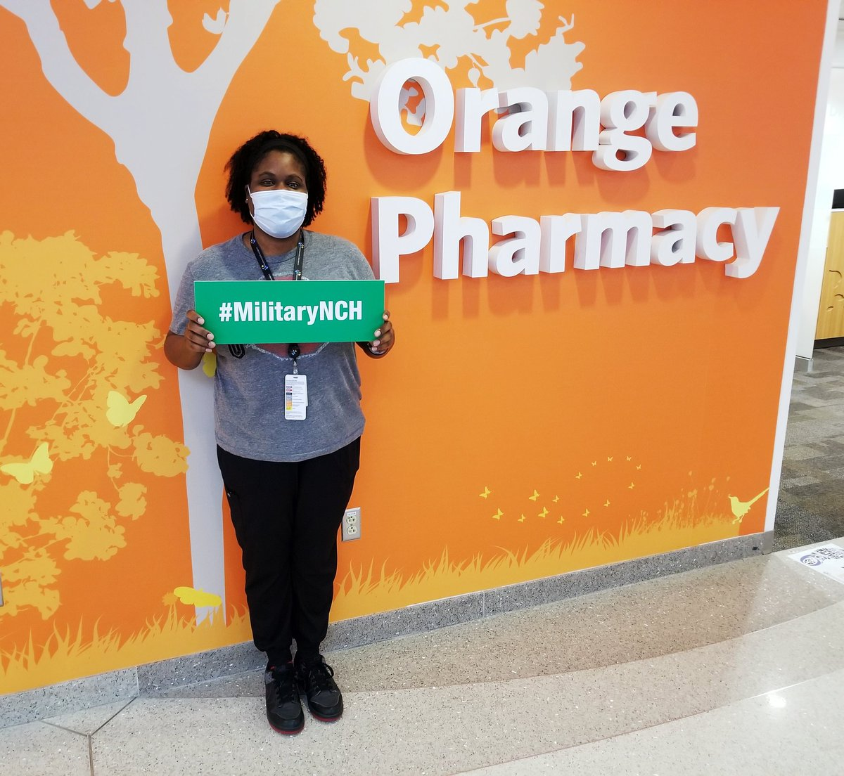Meet Brittanie, #pharmacytech extraordinaire and @usairforce veteran. Her military training taught her 'capacity', which means she can tackle whatever @NCHCareers tosses her way! Thanks for all you do! #pharmacyweek #MilitaryMonday