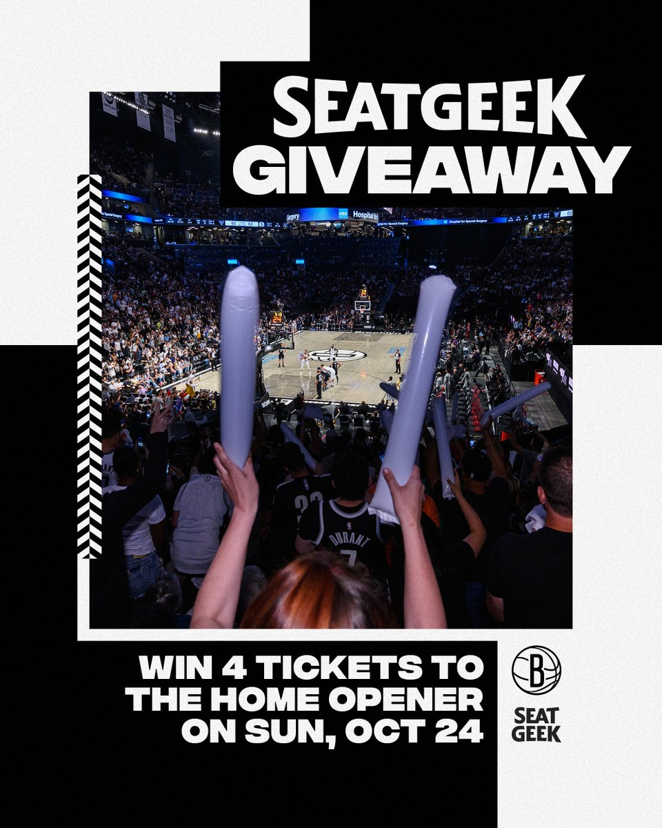 Get your seat in a Nets seat! Enter for your chance to win 4 tickets to our home opener, courtesy of @SeatGeek! 🎟🎟🎟🎟 nba.com/nets/tickets/e…