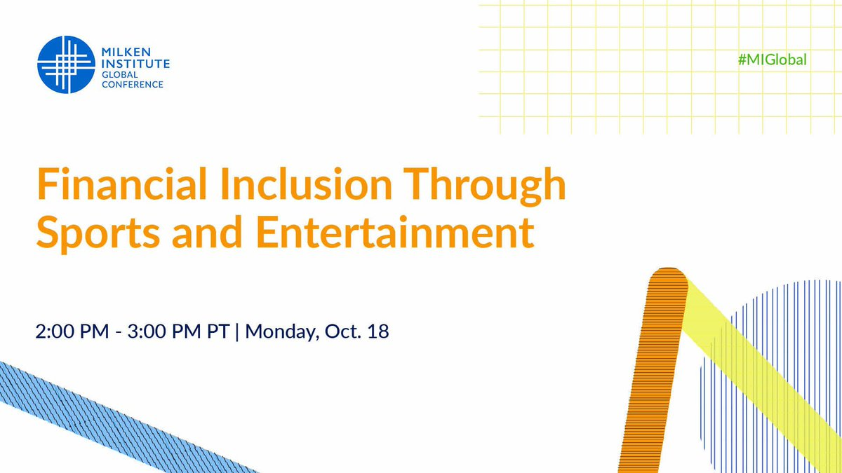Join me today @MilkenInstitute as I moderate an impactful discussion on the power of Sports & Entertainment and Financial Inclusion with @hillharper @rjamesii @RenataAngeleno @CTBank @BlackBankFund