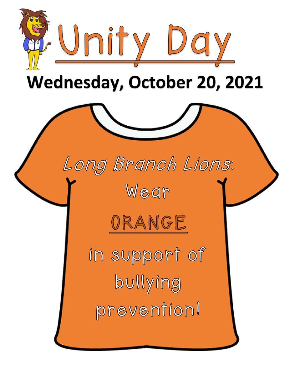ねえ@LongBranch_ESライオンズ! 今月はいじめ防止についてお話し始めます! この水。 は#UnityDay2021です。 オレンジを身に着けて、優しさ、受け入れ、包摂の一致を示し、子供がいじめを経験してはならないという目に見えるメッセージを送ります。 (2021/2021) @PACER_NBPC https://t.co/1DiLNDtsM