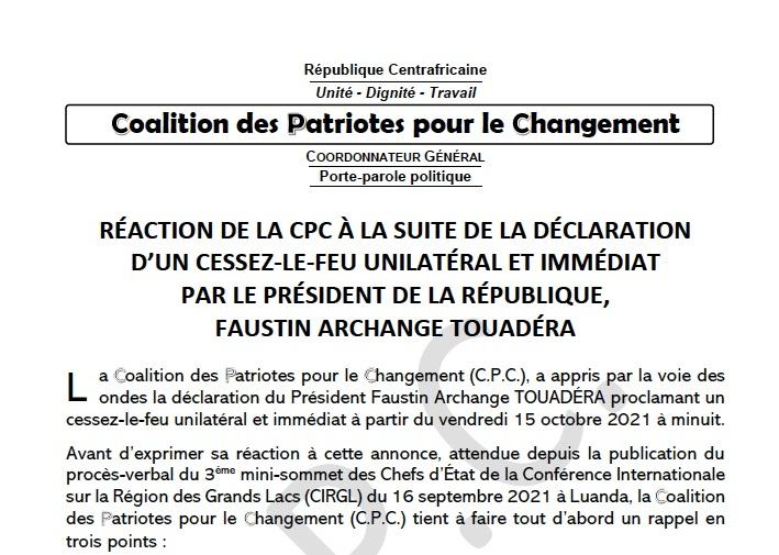 #Centrafrique : La coalition rebelle CPC accuse les forces pro-gouvernementales d'avoir déjà violé le cessez-le-feu notamment à Benzambé, attaquée et pillée samedi selon des sources locales et sécuritaires. #RCA #CARcrisis