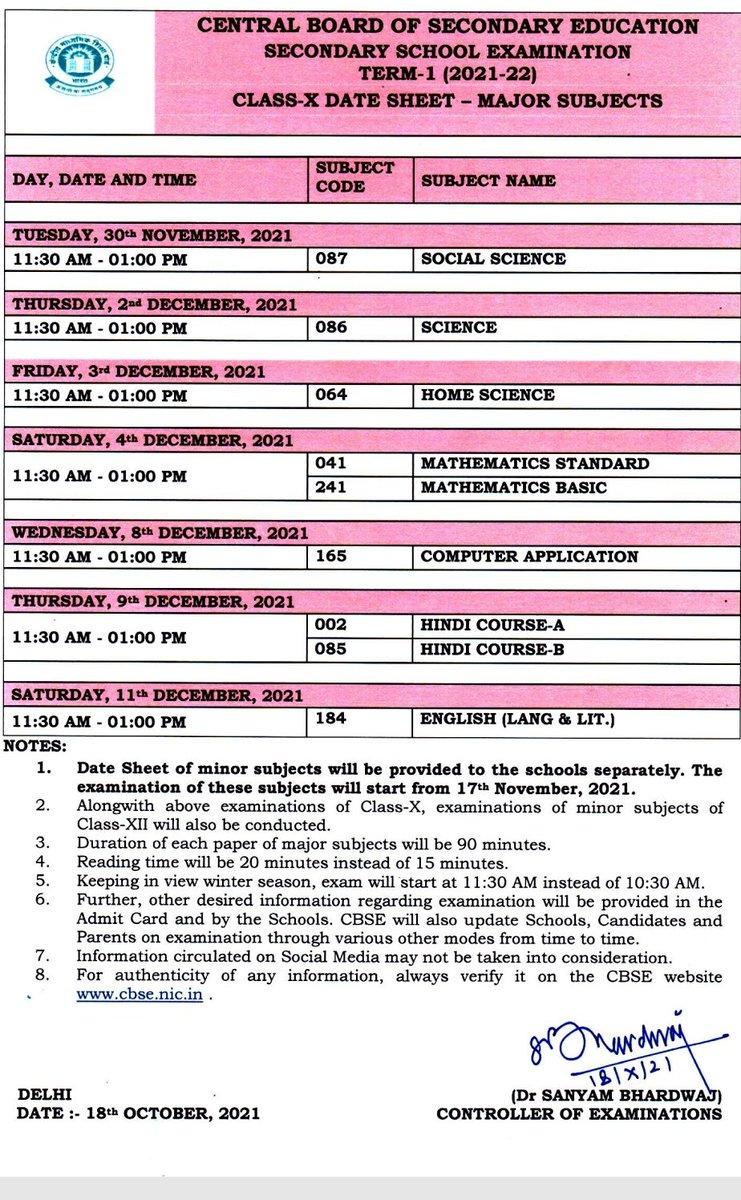 CBSE ने कक्षा 10वीं और 12वीं के छात्रों के लिए टर्म-1 बोर्ड परीक्षा की डेट शीट जारी किया