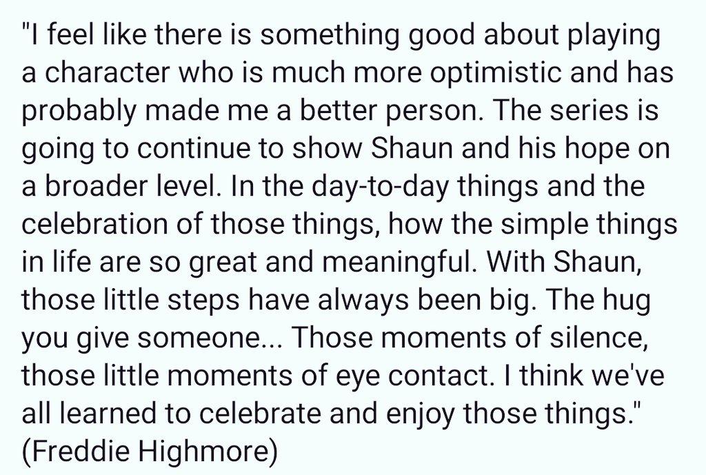@aka_TeeJay @GoodDoctorABC @gooddrwriters @TGDsquad @TheGoodDoctorAr @TheGoodDoctorMx @EndgameShea @KLBSt8ofSk8 @Shea_TGD @Murphy_Stat @tgdfandom558 Read these beautiful and touching words of Freddie 💙 He puts his heart and soul into Shaun. sensacine.com/noticias/serie…