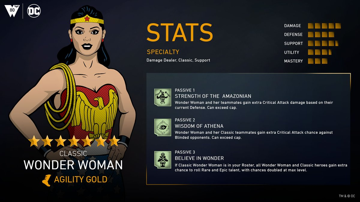 80 years of justice and she's still got it. Witness the glory of #ClassicWonderWoman in @Injustice2Go starting tomorrow! Take advantage of Blinded opponents, gain bonus Critical Attack and extra chances to roll Rare and Epic talents! @DCComics #WonderWomanDay #INJ2mobile
