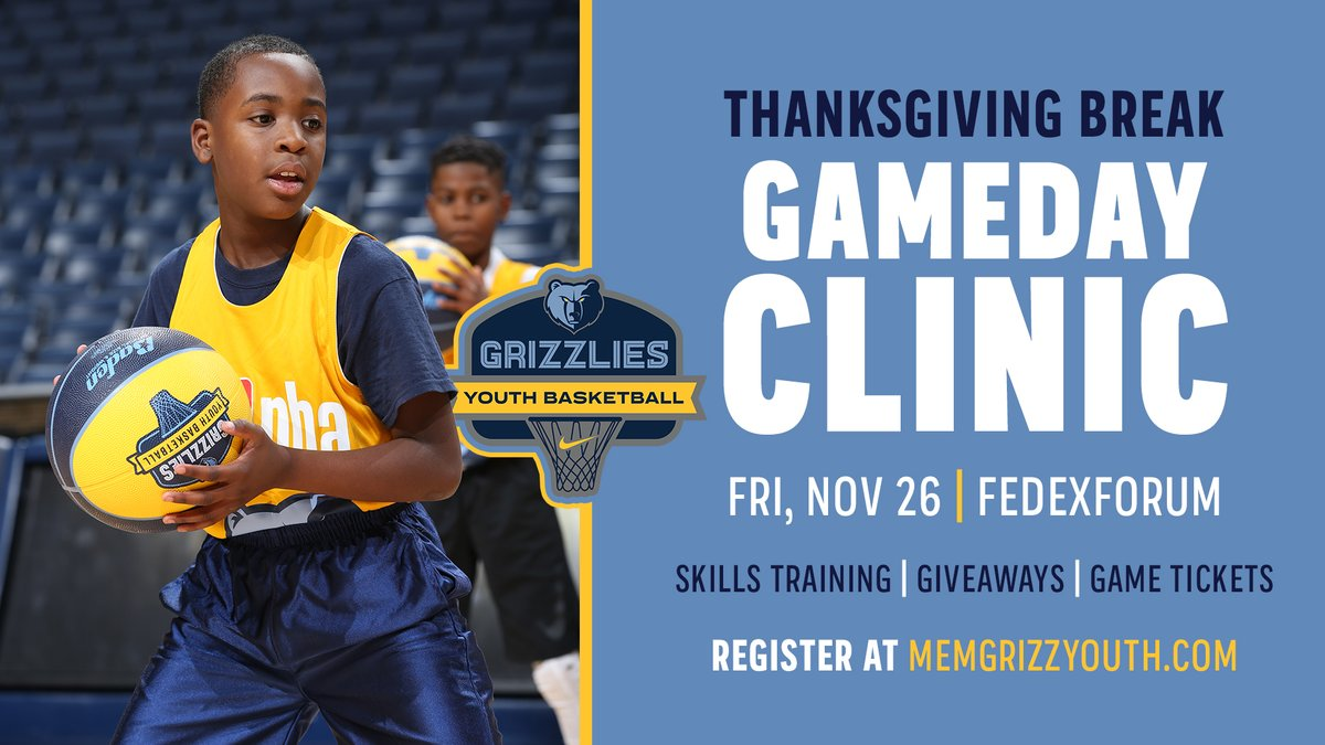 🚨 ANNOUNCEMENT 🚨 For the first time in 20 months, our Gameday Clinics are BACK! ⛹️♂️ Training on the main court 🤩 Giveaways 🏀 Access to pregame warmups 🎟️ Tix to @memgrizz vs. Hawks Our most popular program, a sell-out is anticipated. Sign up NOW! bit.ly/3jcGGPF