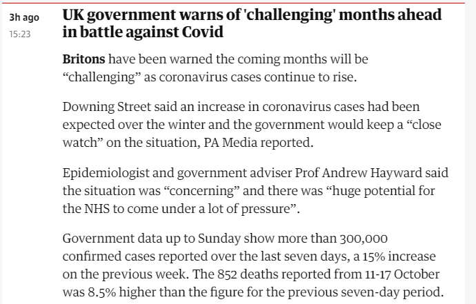 so 49K cases in UK today. Government says 'Tough times ahead'. No shit - and it did NOT have to be this way. Booster & teen vax acceleration needed urgently alongside some basic mitigations *now*. @ShaunLintern is heroically covering NHS despair