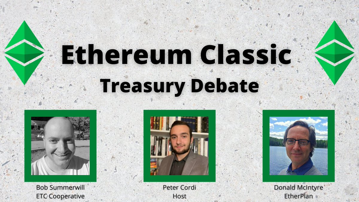 Watch this lively discussion with @BobSummerwill, Director of @ETCCooperative, and Donald McIntyre (@ETCLOGIC) of https://t.co/ujaE7mAL38. Special thank you to @PeterCordi for hosting.   IOHK #EthereumClassic Treasury Debate