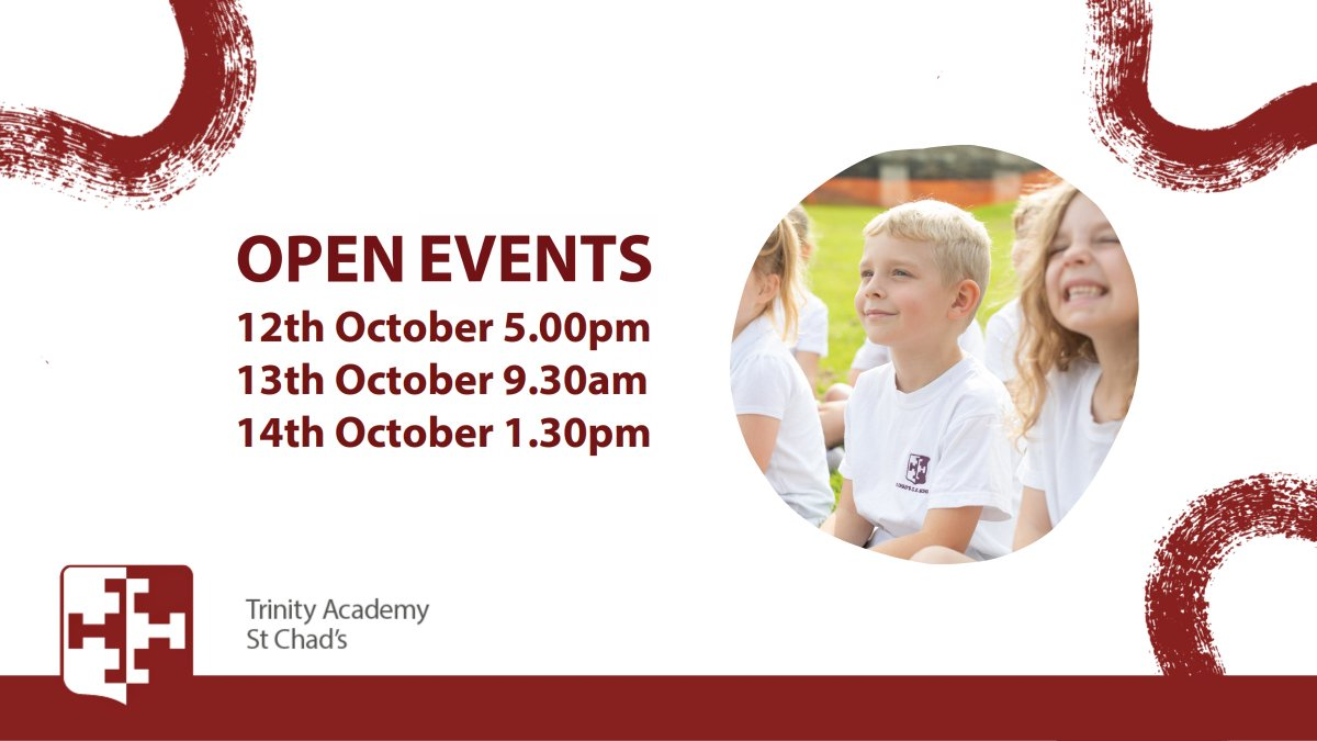 Tomorrow is the start of our Open Events here at @TrinityAcadStC. Make sure you don't miss out🏫