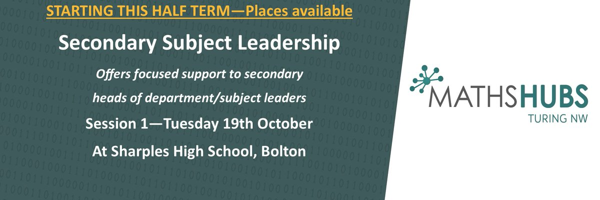 📢 Our NEW Work Group Secondary Subject Leadership begins nxt wk & we have a ltd number of places still available  Visit our website for more information and to book your place today 👇  https://t.co/qqDIQfW7HY  @MathsHubs @NCETM @GaynorBahan @AngelaHartMaths @boltonlearnopps