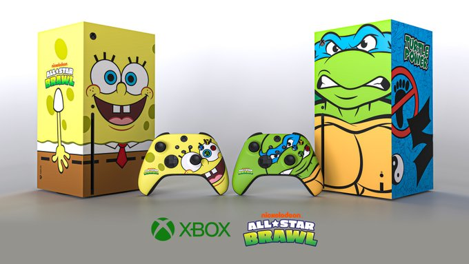 Two custom Xbox Series X console and controllers modeled after Spongebob Squarepants and Teenage Mutant Ninja Turtles respectively.