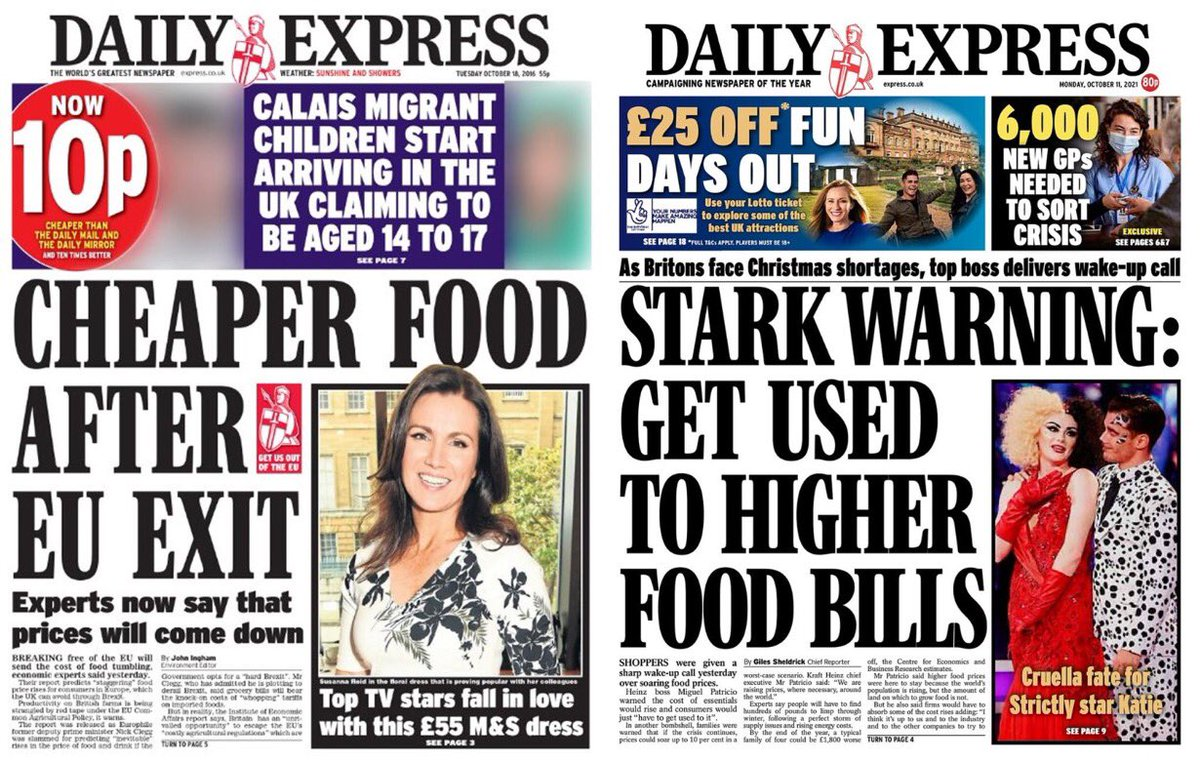 Five years apart. How times change if you're an Express reader. Don't forget that between the two the Express changed hands and is now owned by Trinity Mirror.