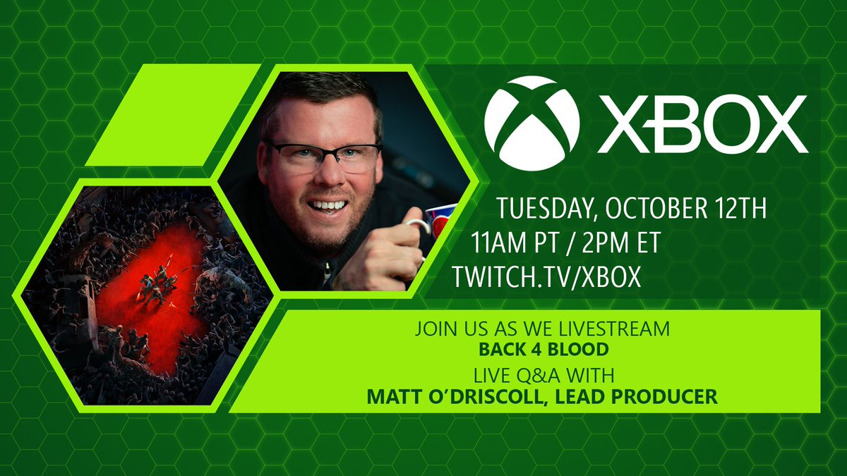 Tomorrow, we'll be slaying Ridden with @Xbox and #Back4Blood lead producer, Matt O'Driscoll (@OddsOnOD). Join us at 11AM PT on the Xbox @Twitch channel and watch us Clean the streets!