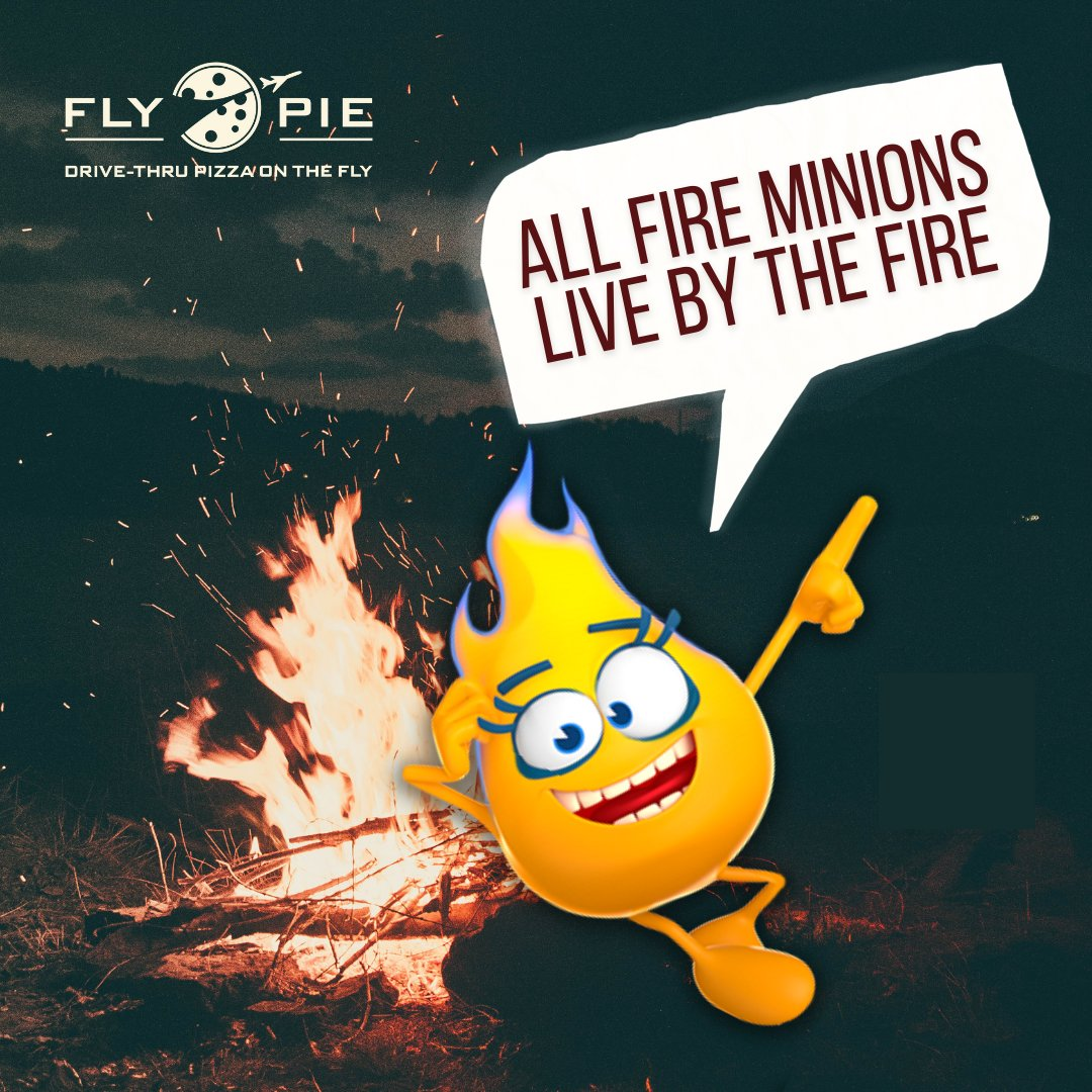 Every time Mr. Heat fires up his oven to make pizza, a Fire Minion is born!  #flypiepizza #flythetunnel #Pizza #fire #minions #vegasfoodie #FlyPie #vegaspizza