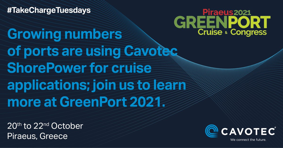 At next week's @GreenPortBiz Cruise & Congress, we'll be sharing insights and best practice from Cavotec #shorepower applications to accelerate progress towards a more sustainable #cruise sector:  https://t.co/6nvZZFPhtC  #cleantech #sustainableinfrastructure #gpcongress https://t.co/YsROOsYOfE