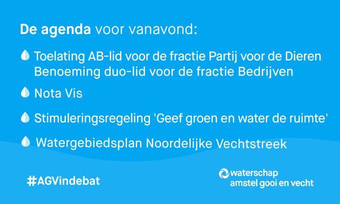 Een bomvolle agenda vanavond, bij de vergadering van het algemeen bestuur van @waterschapagv  |  #AGVindebat  Live meekijken vanaf 20:00 uur? Dat kan!   📽️👉https://t.co/LEeQONZMFy  Een greep uit de agenda 👇