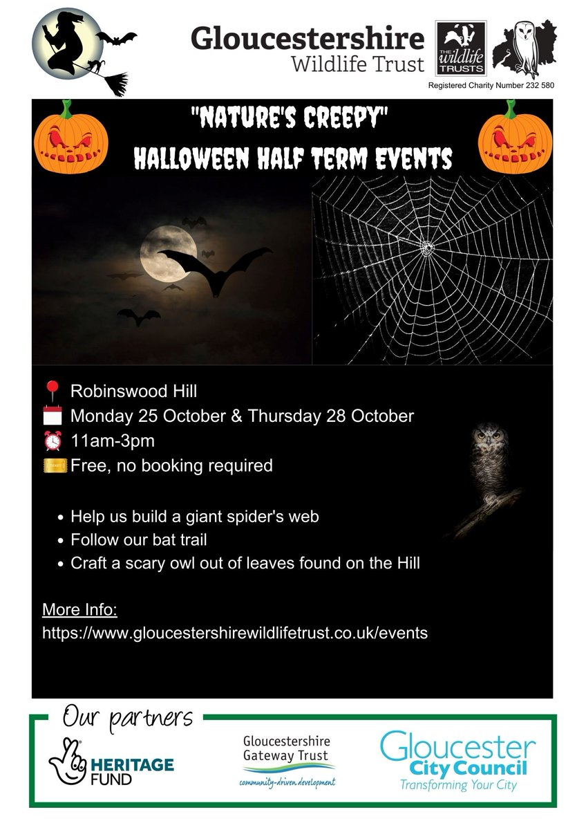 If you're making plans for #halfterm we're delighted to support two more FREE 'Return to the Hill' #Halloween events on Robinswood Hill, see below for details 👇👻🎃  @gloswildlife #Gloucestershire #October #thingstodo #nature #wildlife