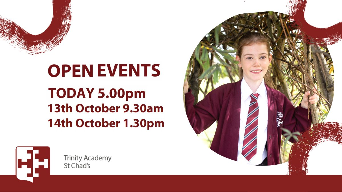 TODAY is the start of our Open Events here at Trinity Academy St Chad's 📚We can't wait to see you!