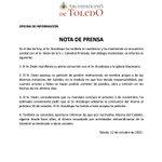 Image for the Tweet beginning: 👇 Nota de prensa de