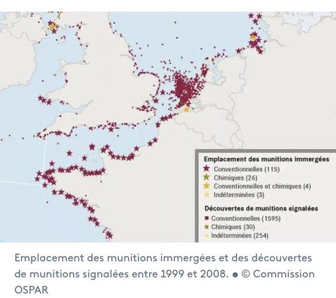 carte de l'emplacement des munitions submergées