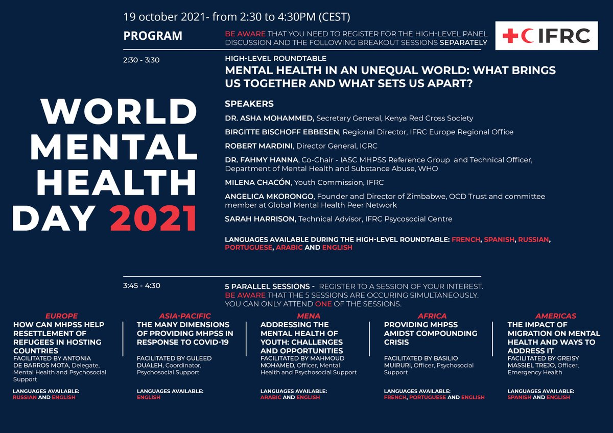 """FOCUS is part of this great webinar by @IFRC_PS_Centre: """"#MentalHealth in an unequal world: what brings us together and what sets us apart"""". 19 October, 14:30-16:30 CET Register for free: https://t.co/d1G00CpOaK ➡️FOCUS will be represented in the """"Europe"""" session at 15:45 pm."""