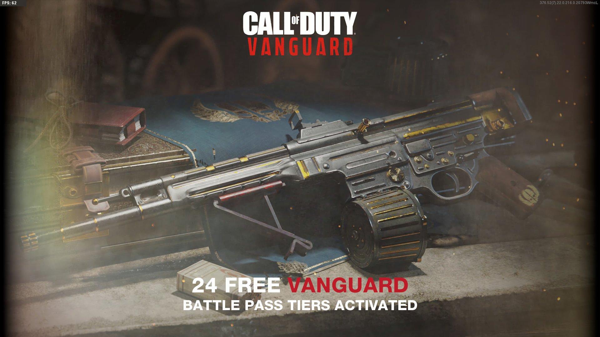 The Vanguard Battle Pass tier screen