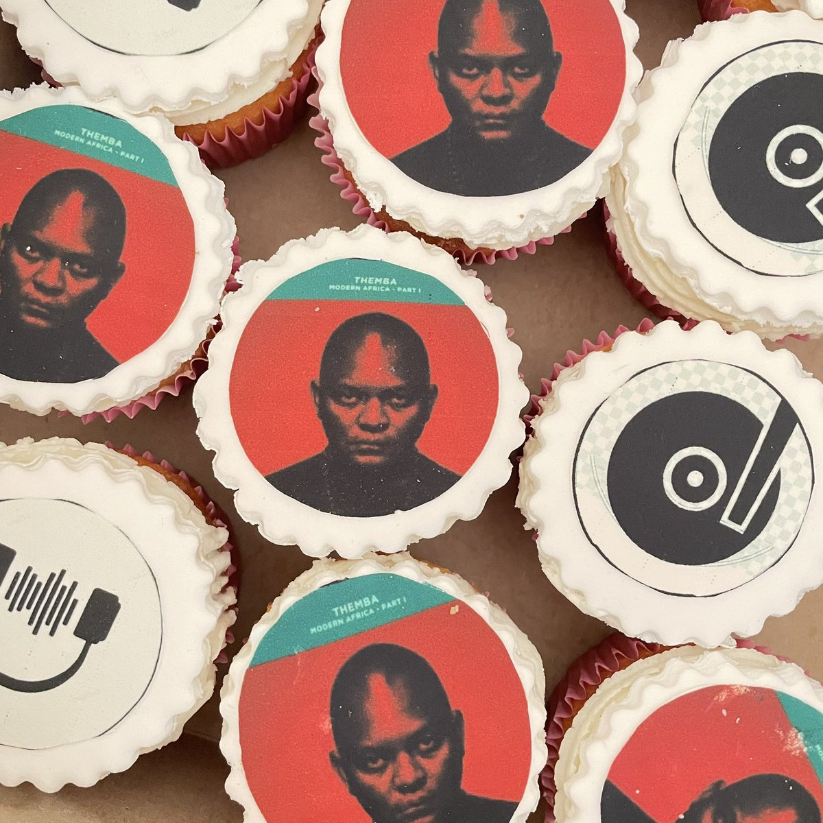"""What's better than some cupcakes? The Album cover from my debut album on some cup cakes. """"Modern Africa"""" out now on all platforms… what's your favorite song? #ModernAfrica #ListenToThemba"""