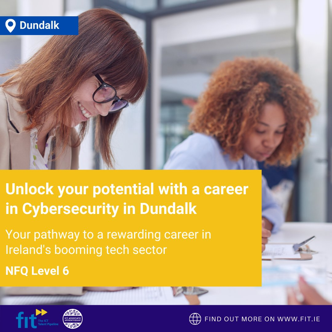 Attention Louth & Meath employers! FIT are delighted to be bringing our CyberSecurity Apprenticeship opportunities to #Dundalk starting in Nov 90% of businesses have seen a rise in Cyberattacks in the last 12 mths. https://t.co/kksKb5BCFO