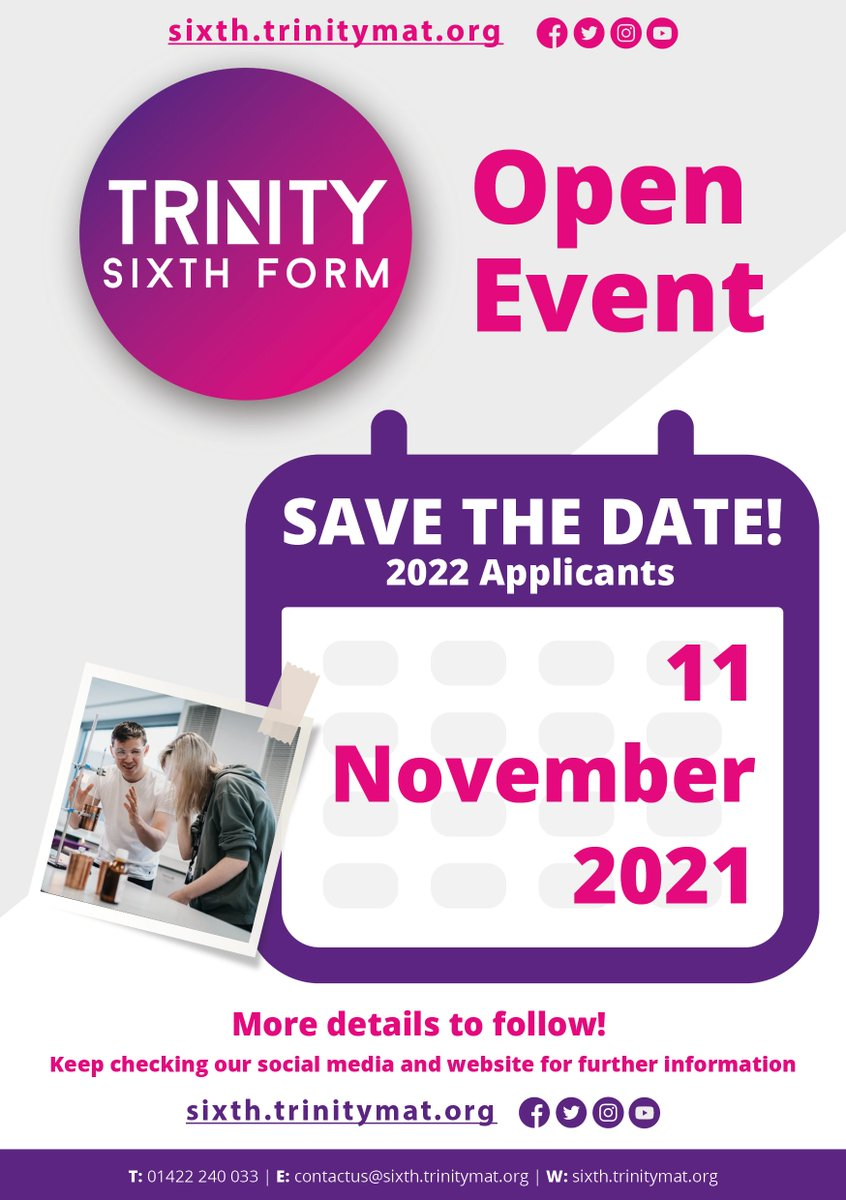 ⭐️ You're Invited! We can't wait for our #OpenEvent on 11 November from 5.00pm - 7.30pm. This event is an exciting opportunity to check out our incredible facilities, meet some of our students & hear from our principal ☺️💬 #SixthForm #Halifax  Read more🔗 https://t.co/Ii7OKB2Uwc