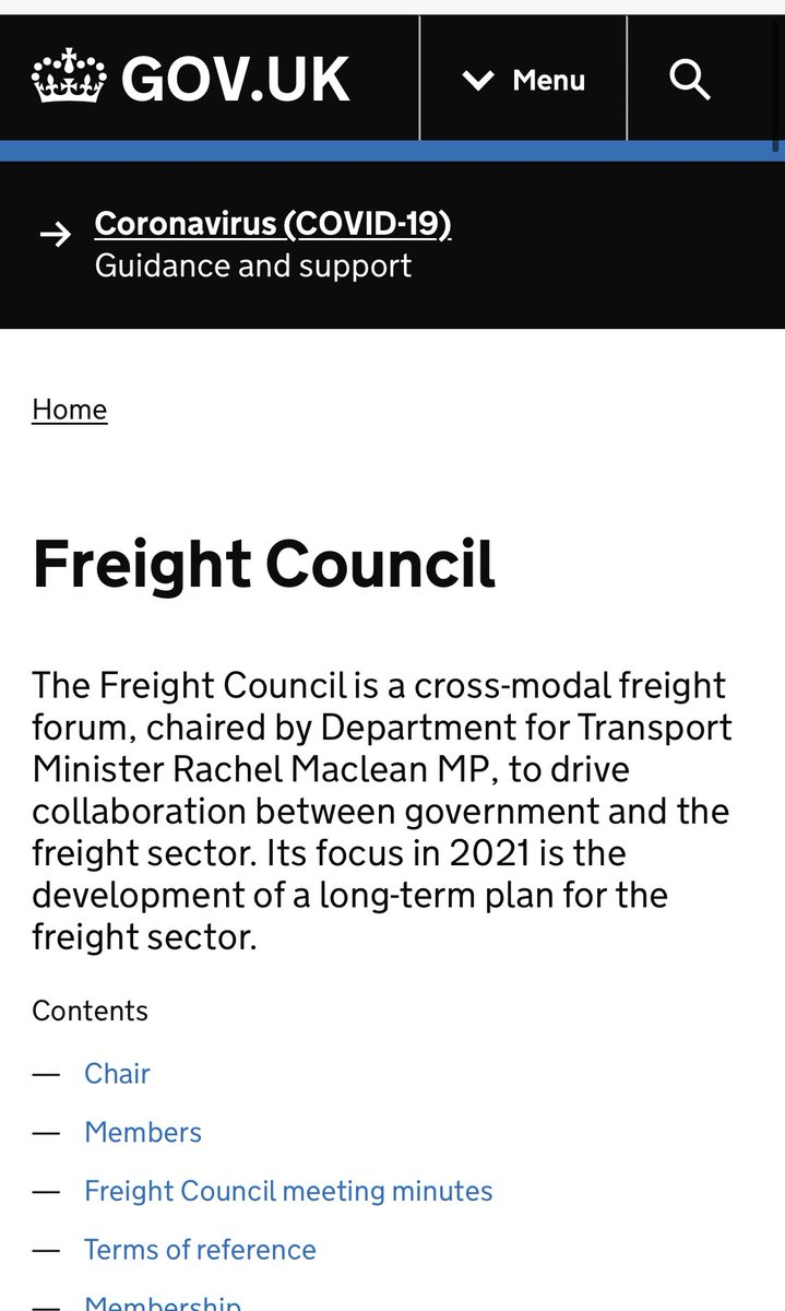 .@thetimes report a return to ships being turned away from Ports, as we've warned The Gov set up the 'Freight Council' which has only met *once* in June. It doesn't appear to have met in Sept, bizarrely still has it's *former minister* listed as chair? gov.uk/government/gro…