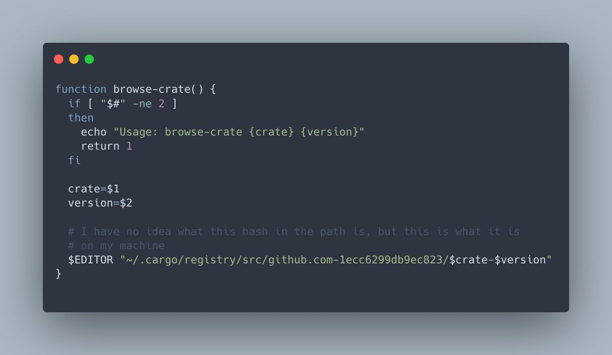 Neat little trick to browse the source code for any Rust crate you are using in your favourite editor. browse-crate tokio 1.12.0