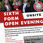 Image for the Tweet beginning: Sixth Form Open Evening Mon 18