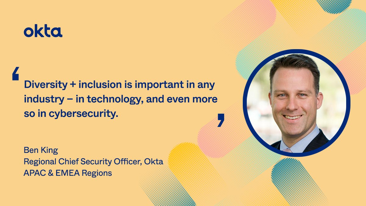 Attracting + keeping diverse talent in cybersecurity is a global issue — an issue that Okta's Regional Chief Security Officer + Cyber Security Advocate Ben King is working to solve. Learn more about our commitment to diversity + inclusion: bit.ly/3lBLBuM