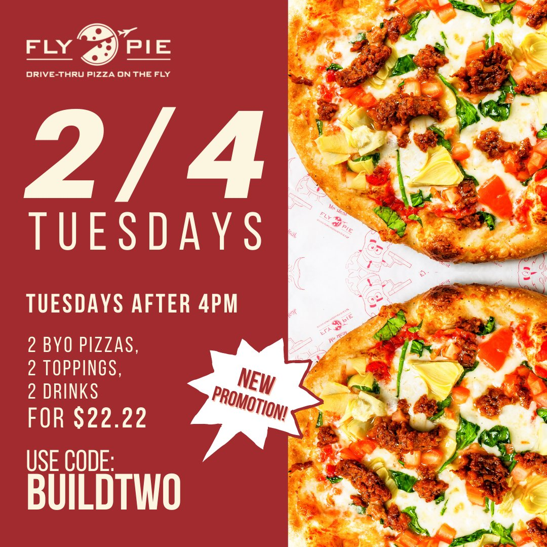 Today officially marks our first 2/4 Tuesday!  2 BYO Pizzas, 2 Toppings, 2 Drinks for only $22.22  Use promo code BUILDTWO at checkout Valid Tuesdays after 4pm.  *Offer may not be combined with other offers or discounts.*  #flypiepizza #flythetunnel #discounts #vegasdiscount