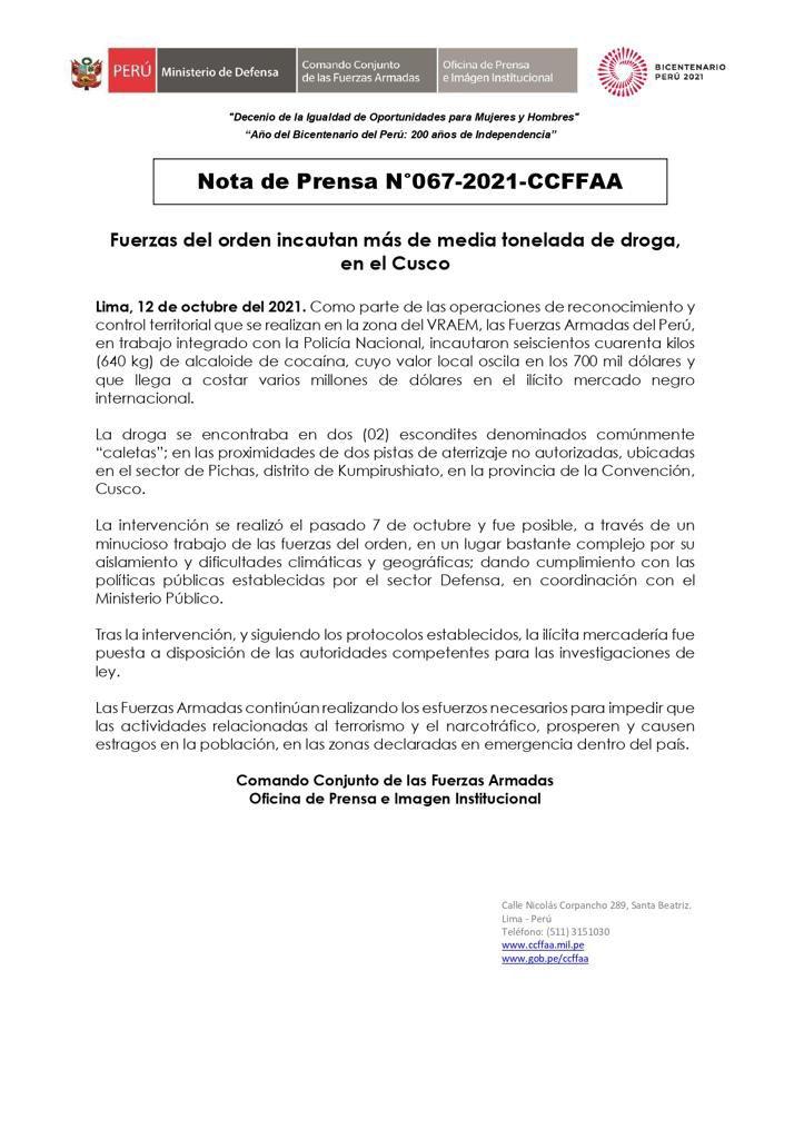 Incautan droga en Cusco valorizada en más de 700 mil dólares - Cusco Post