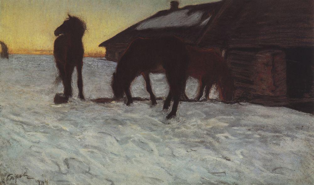 Colts at Watering Place. Domotcanovo, 1904 #valentinserov #realism