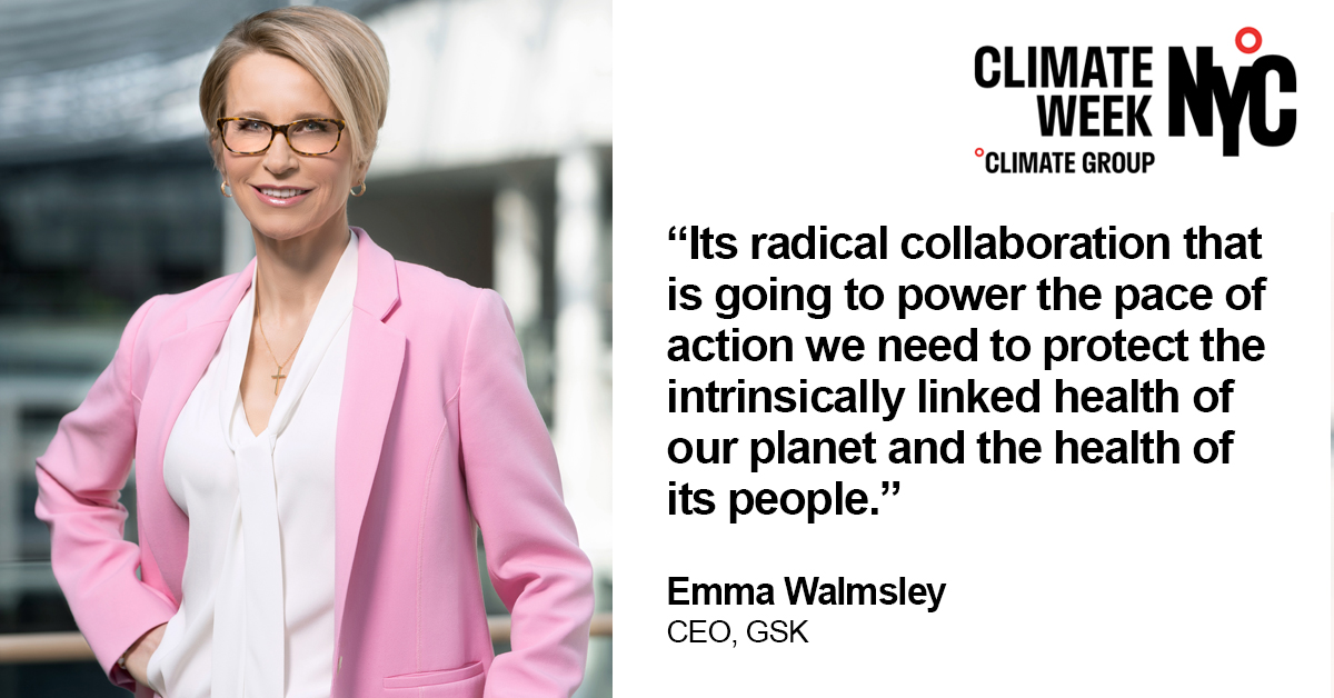 At #ClimateWeekNYC, Emma Walmsley explained that to achieve the pace of action required to protect the planet and to protect health, it will take radical collaboration.   Learn more: https://t.co/fqIm6hYFtS  #carbon #climatechange #netzero #naturepositive https://t.co/ULsbXP5ZB0