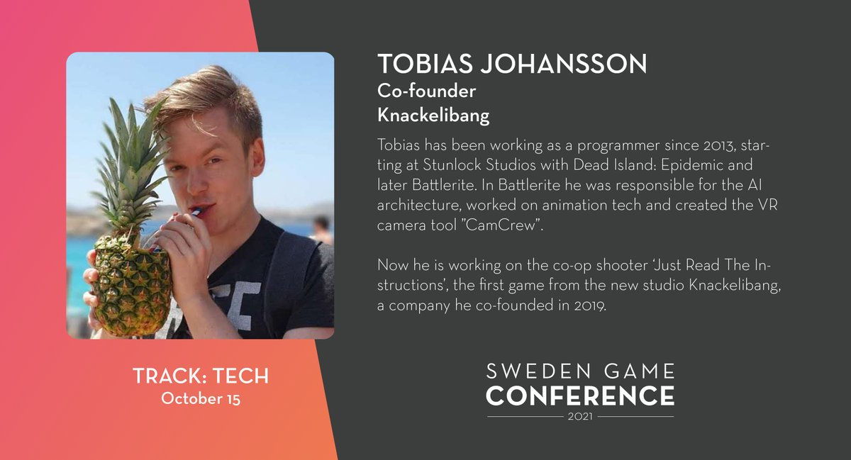 We welcome Tobias Johansson from @TheKnackelibang as a panelist at Sweden Game Conference 2021! Read more about the speakers and panelists at Sweden Game Conference: https://t.co/kjIcYzCWUA https://t.co/mrHqjMq70C