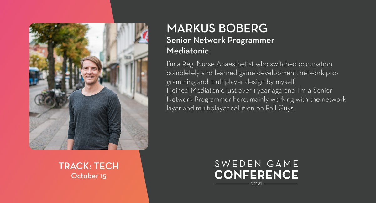 We welcome Markus Boberg from @Mediatonic as a speaker at Sweden Game Conference 2021! Read more about the speakers and panelists at Sweden Game Conference: https://t.co/kjIcYzCWUA https://t.co/Q1S2inGpXG
