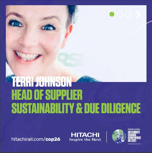 Meet Terri Johnson who will be representing Hitachi Rail at this years #COP26 as a volunteer!  With over 14 years working within the field of sustainability, find out more about why it is so important for her to be supporting COP26: https://t.co/nuTrO2kY2Y  #teamhitachi https://t.co/l5fE2TzNpC