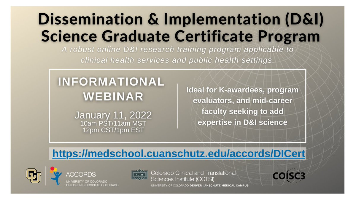 """It's almost time to apply for our D&I certificate program! Need to learn how to apply D&I frameworks to your research? Want to """"Design for Dissemination and Sustainability?"""" All virtual and accessible to scholars at any institution. https://t.co/MMpBu781cq"""