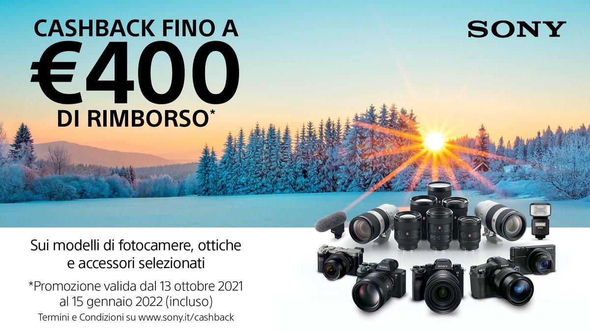 Da oggi, fino al 15 gennaio 2022, torna l'imperdibile cashback di Sony! Ottieni fino a 400€ di rimborso acquistando fotocamere, ottiche e accessori selezionati. Per maggiori informazioni, visita https://t.co/4qb9giGk4q https://t.co/NXbPInP9PP