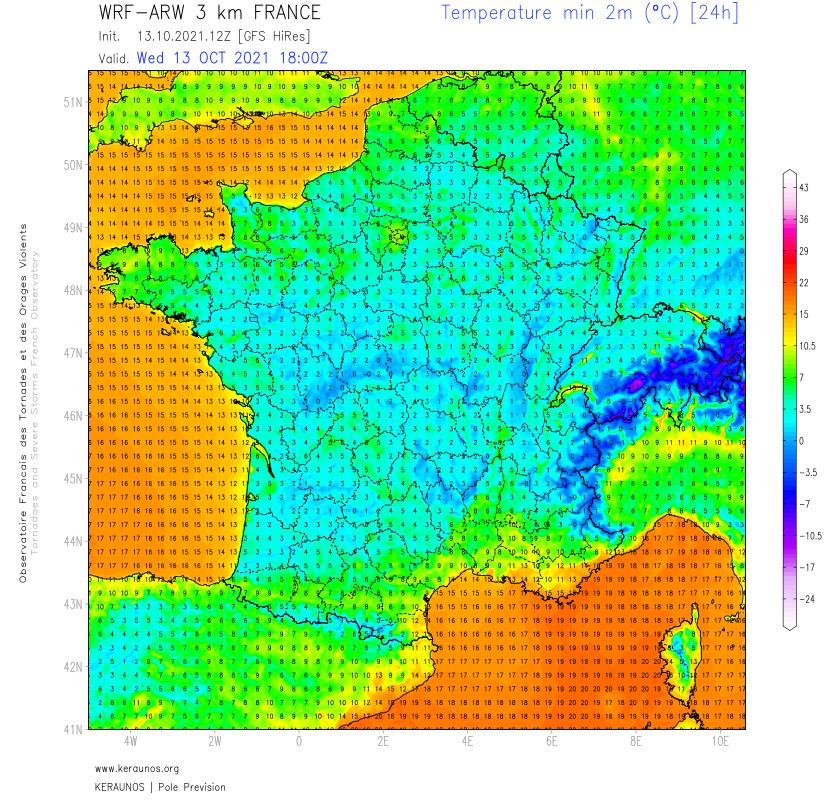 Avec moins de nuages bas, la nuit prochaine s'annonce plus fraîche voire froide avec des gelées par endroits, localement jusqu'à -2/-3°C possibles.