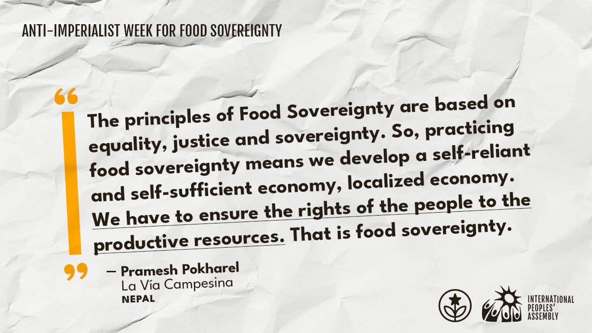 The increase of poverty and hunger occurs alongside the vast concentration of wealth. Nowadays 2.37 billion people do not get the nutrients they need to survive. 🌱🌳'#FoodSovereigntyNOW offers a manifesto for the future,' says @via_campesina. Join us on the @antiimperial_20.