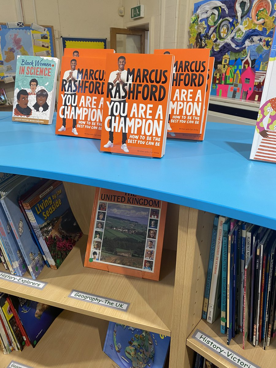 @MarcusRashford looking great in our school library. Kids loving the book. Thank you! #youareachampion