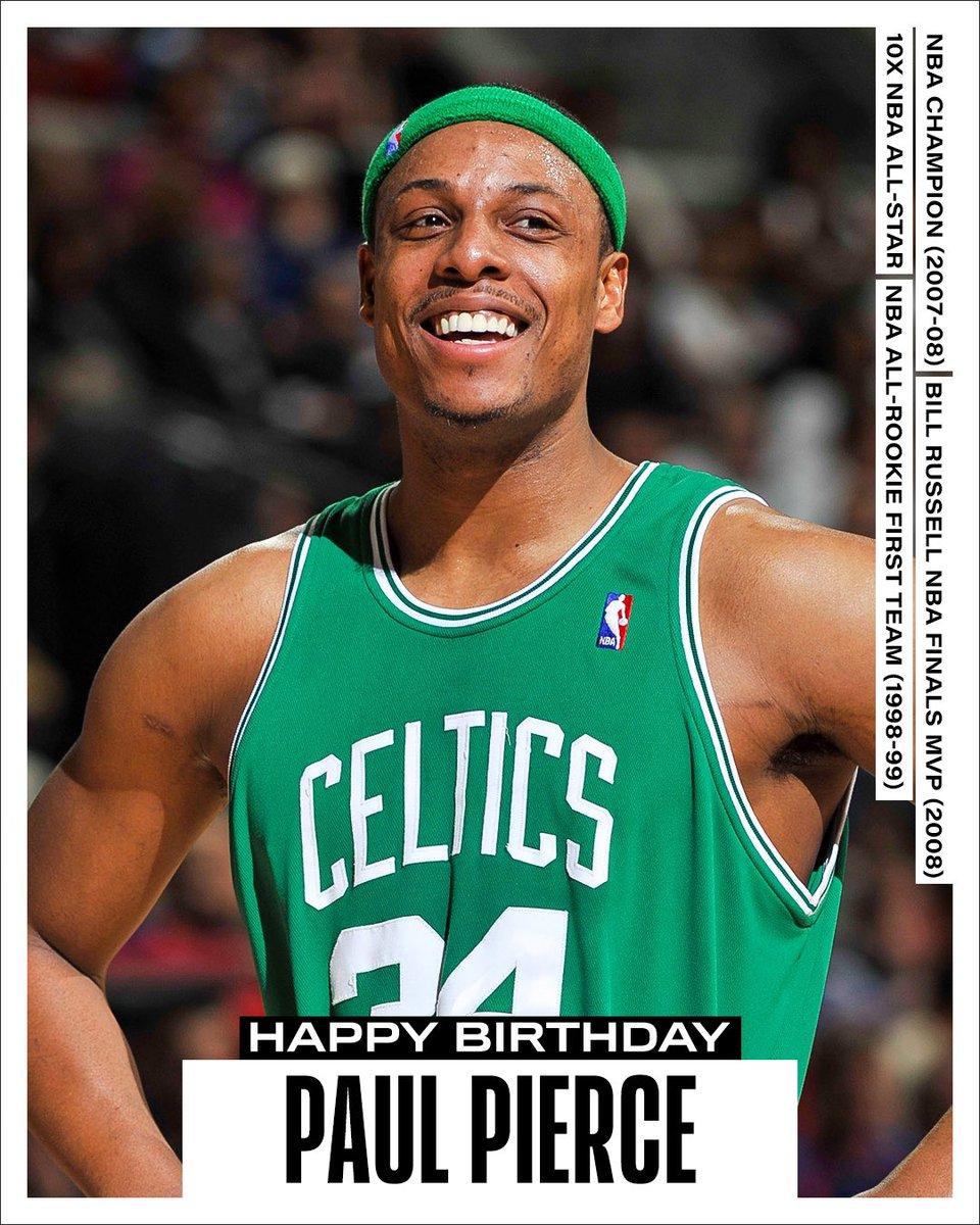 Join us in wishing a Happy 44th Birthday to 10x #NBAAllStar, 2007-08 NBA champion, 2007-08 NBA Finals MVP and #21HoopClass inductee, Paul Pierce! #NBABDAY